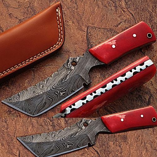 White Deer Damascus Steel Limited Edition  Knife w/ Camel Bone