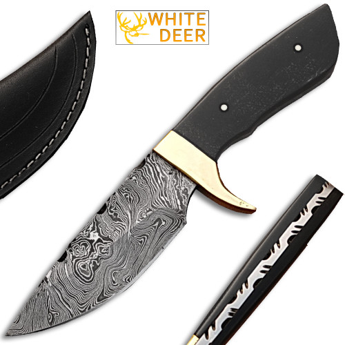 White Deer Custom Made Damascus Skiner Knife Micarta Wood Handle