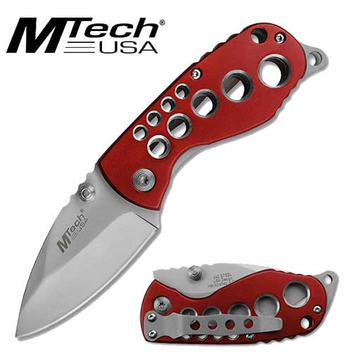 M Tech Red Handel Folding Knife. available only Black blade