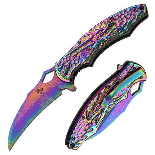 Titanium color Dragon Collection Spring Assisted Knife