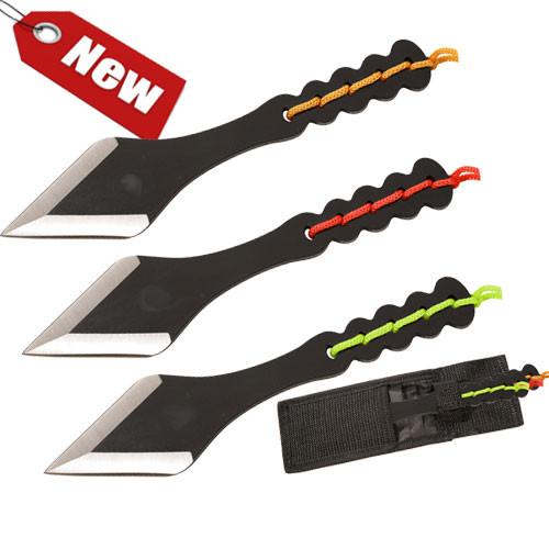 Ninja Black Tanto Throwing Knives Set of 3 Kunai Red, Orange, Green Weighted
