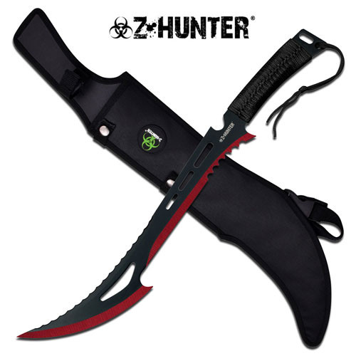 Red Renegade Zombie Killer Machete With Sheath