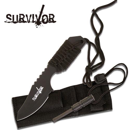 Survival Fire Starter Hunting Camping Knife w/ Flint Black Full
