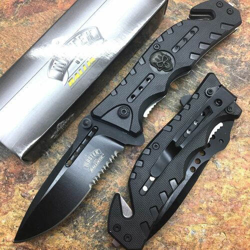 MASTER USA Skull Medallion Black Tactical Hunting Rescue Pocket Knife MU-A010BK