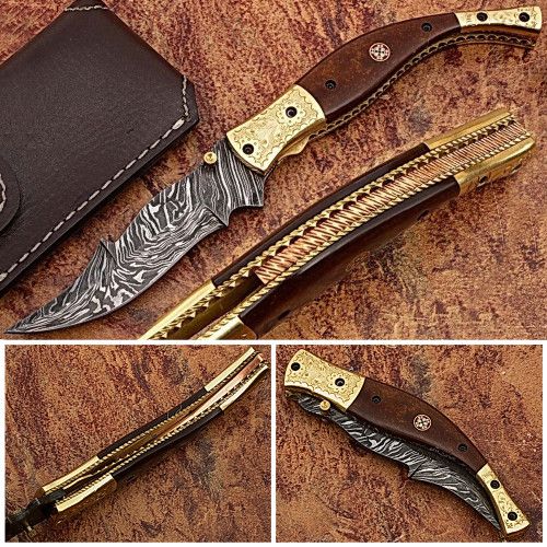Baekelite ENGRAVED Clip-Point Folding Damascus Knife