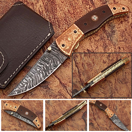 Bakelite Folding Damascus Knife