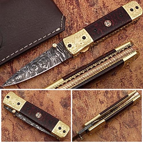 Executive Series Italian-Style Damascus Folding Knife