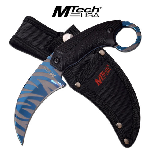 MTech USA Blue Line Tiger Stripes Karambit Survival Knife