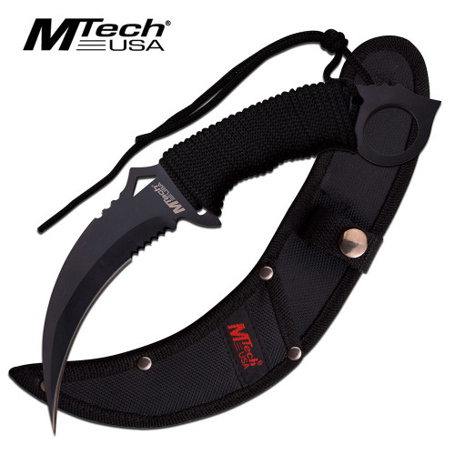 MTech FIXED-BLADE TACTICAL KNIFE   Black Blade Paracord Serrated Combat Karambit