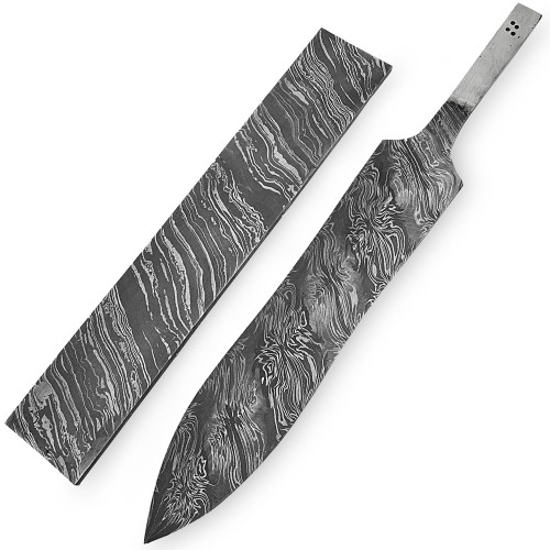 White Deer Damascus Steel BLOSSOM Pattern Billet Forge Welded 10in x 2in x 5.5mm Raw