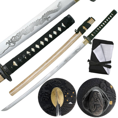 Ten Ryu Hand Forged 1045 Carbon Steel Horimono Dragon Katana Sword