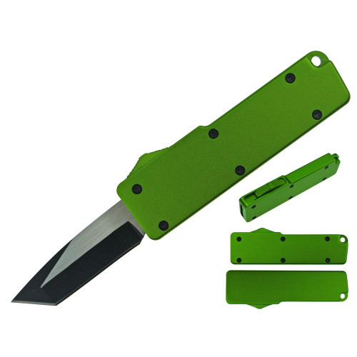Legends Micro OTF Tanto Blade Knife Green Out The Front w Side Switch