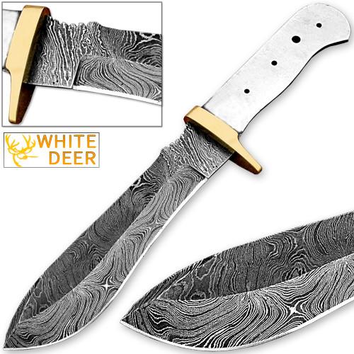 White Deer Blank Blade Damascus Steel Skinner Knife Copper Guard