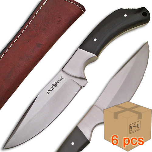 Case of 6pcs WHITE DEER Full Tang J2 Steel Tactical Knife Buffalo Horn Grip Drop Point