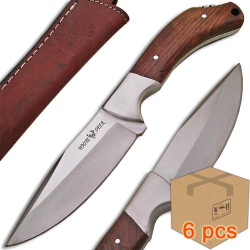 Case of 6pcs WHITE DEER Full Tang J2 Steel Tactical Knife Walnut Grip Drop Point