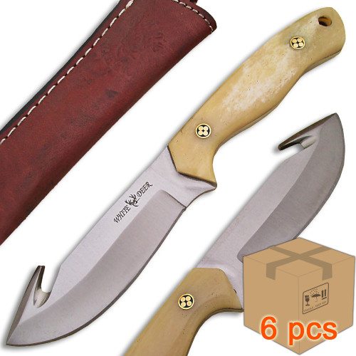Case of 6pcs WHITE DEER Guthook Ranger Series J2 Steel Skinner Knife Buffalo Bone Grips