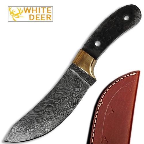 White Deer Exotic Damascus Knife Blank Skinner
