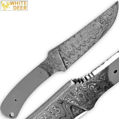 White Deer Damascus Blank Knife Full Tang Rain Drop Pattern