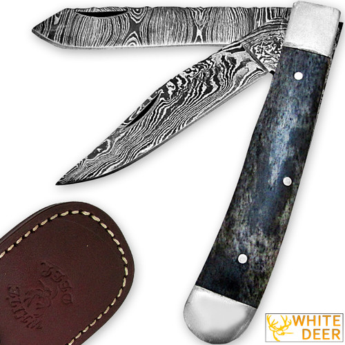 White Deer Master Trapper Damascus Knife Blue Giraffe Bone