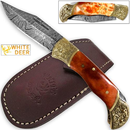WHITE DEER Lockback Damascus Folding Knife Orange Giraffe Bone