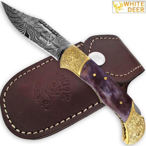 WHITE DEER Lockback Damascus Folding Knife Purple Giraffe Bone