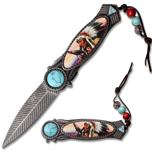 American Indian Styled Blue Spring Assisted Knife 3CR13 Steel BLUE