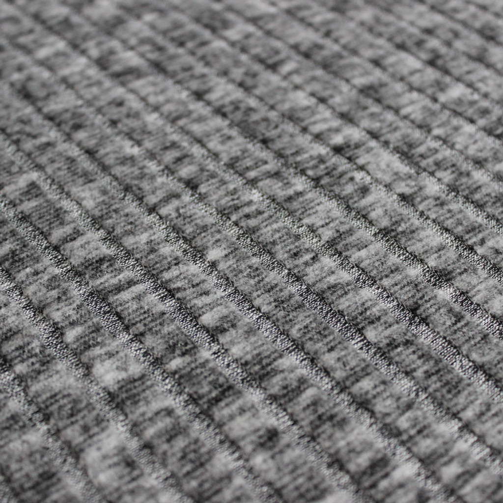 Brushed Ribbed Sweater Knit - Heathered Grey | Blackbird Fabrics