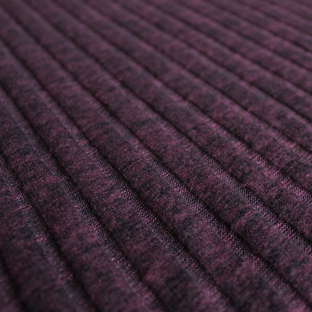 Brushed Ribbed Sweater Knit - Heathered Bordeaux  | Blackbird Fabrics