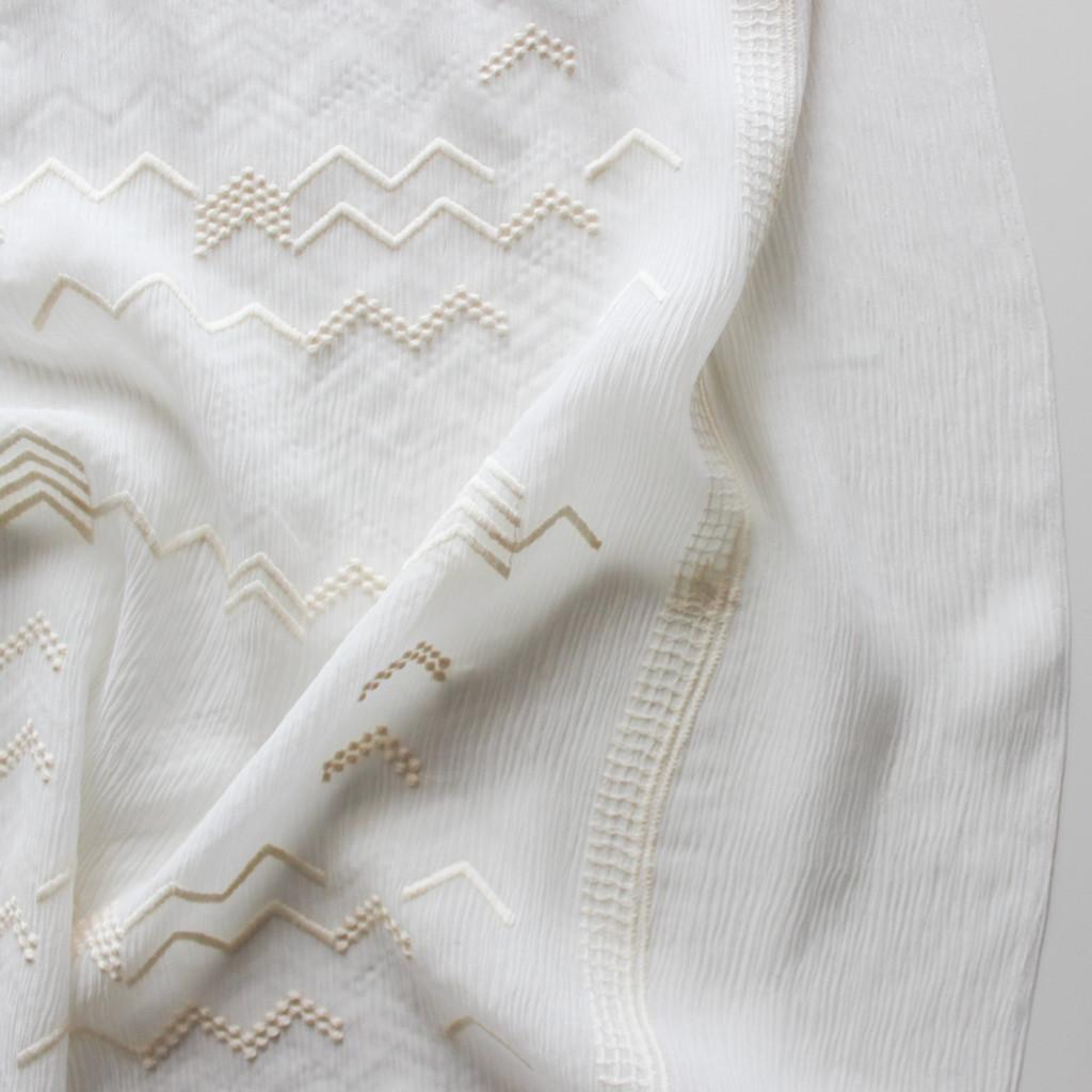 Embroidered Crinkle Silk Chiffon - Ivory | Blackbird Fabrics