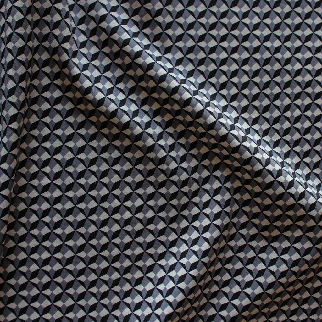 Geometric Stretch Cotton Shirting - Black/Grey/Cream | Blackbird Fabrics