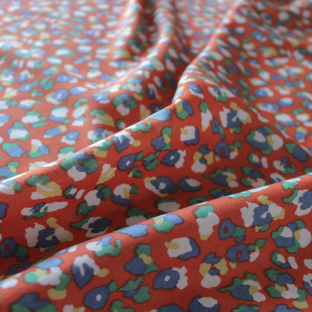 Cheetah Print Rayon Challis - Orange/Multicolour | Blackbird Fabrics