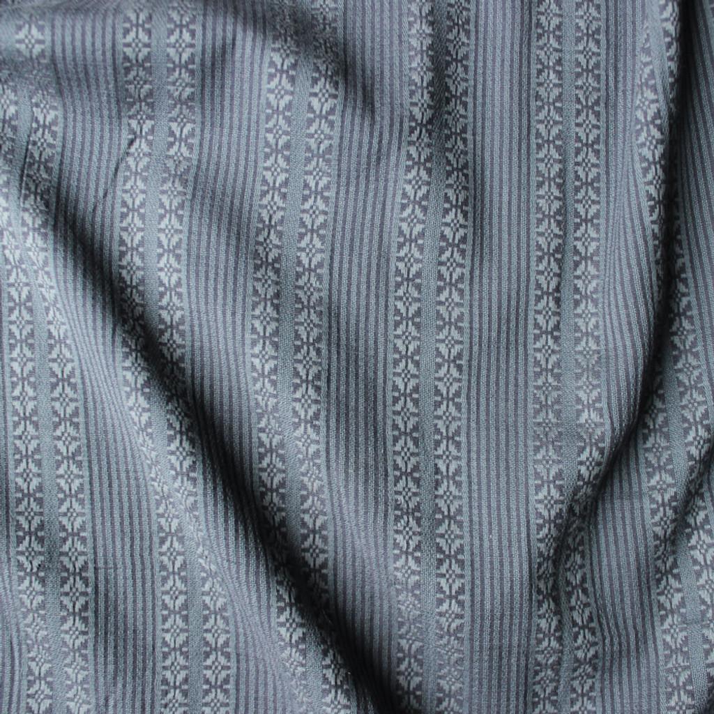 tribal woven japanese cotton shirting blue grey blackbird fabrics