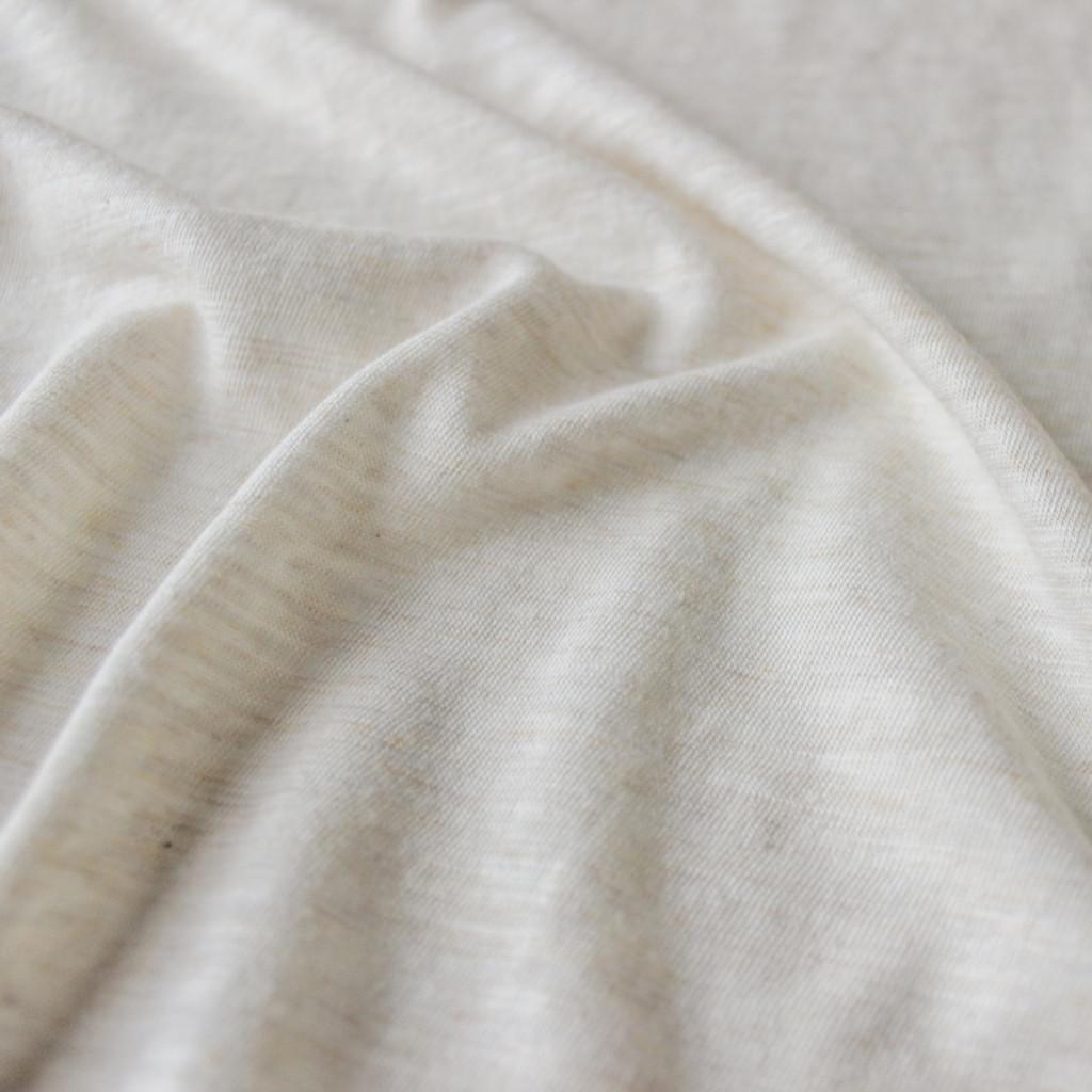 Slubby Organic Cotton & Bamboo Knit - Heathered Almond | Blackbird Fabrics