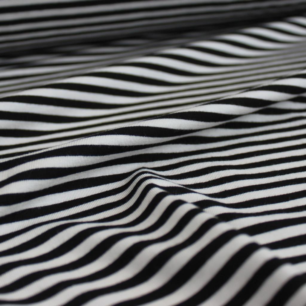 Mini Striped Bamboo Jersey Knit - Black/White - 1/2 meter