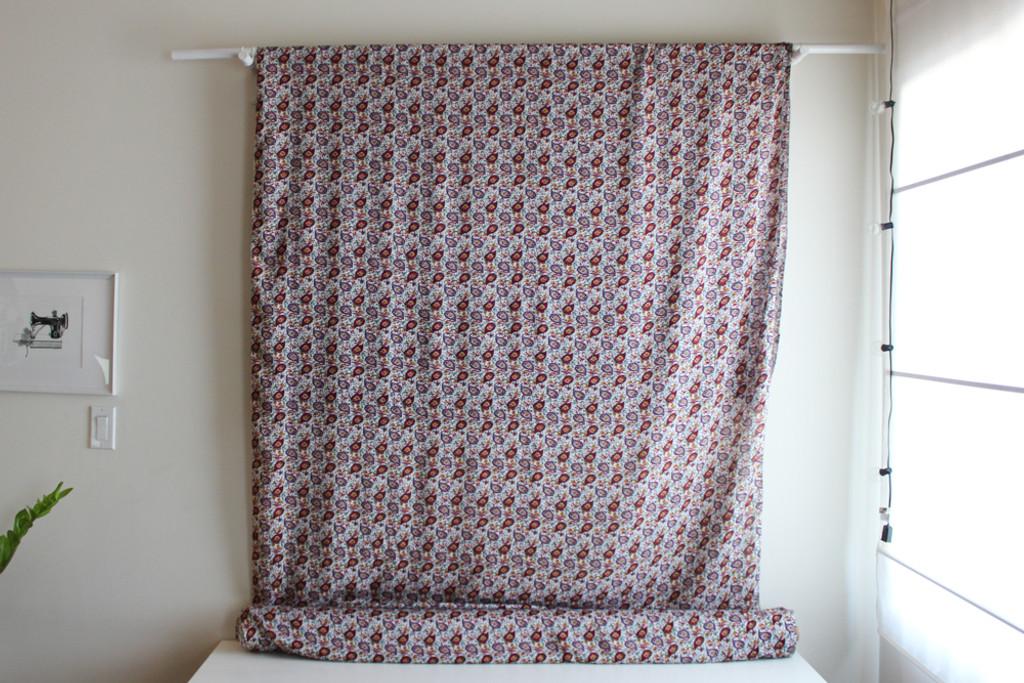 Paisley Rayon Challis - White/Multicolour   Blackbird Fabrics