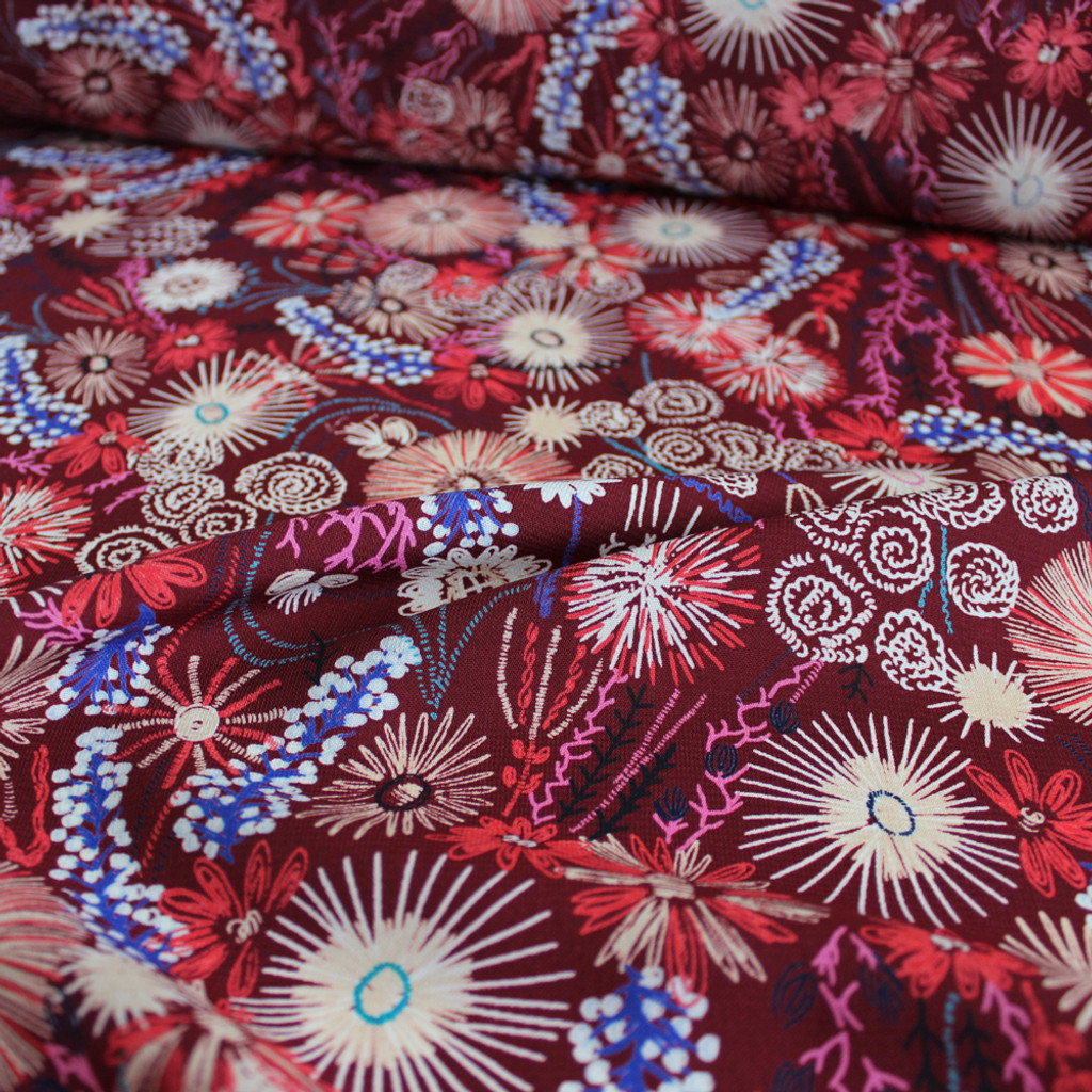 Hand Drawn Polyester Crepe - Maroon | Blackbird Fabrics