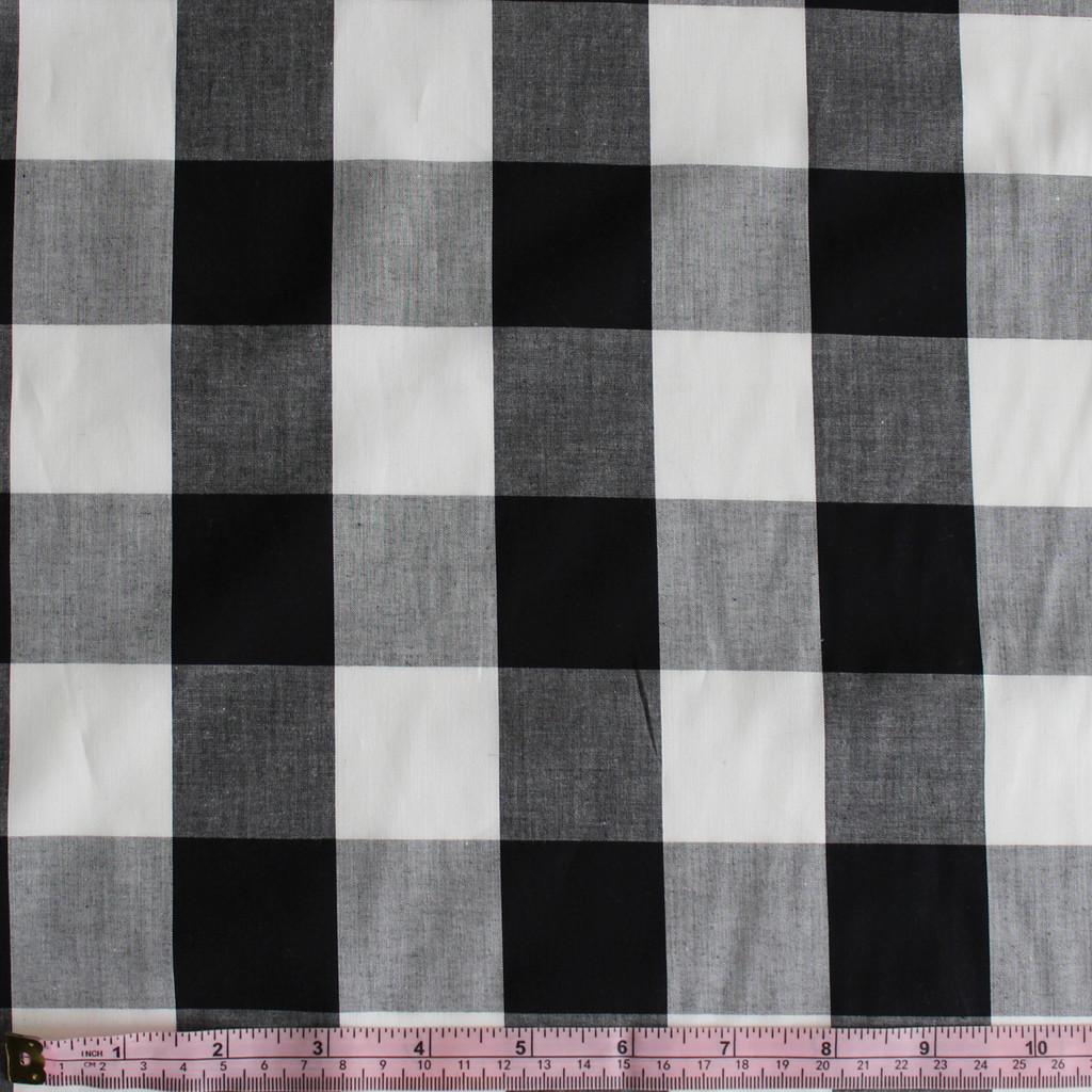 Buffalo Plaid Japanese Cotton Shirting - Black/White - 1/2 meter