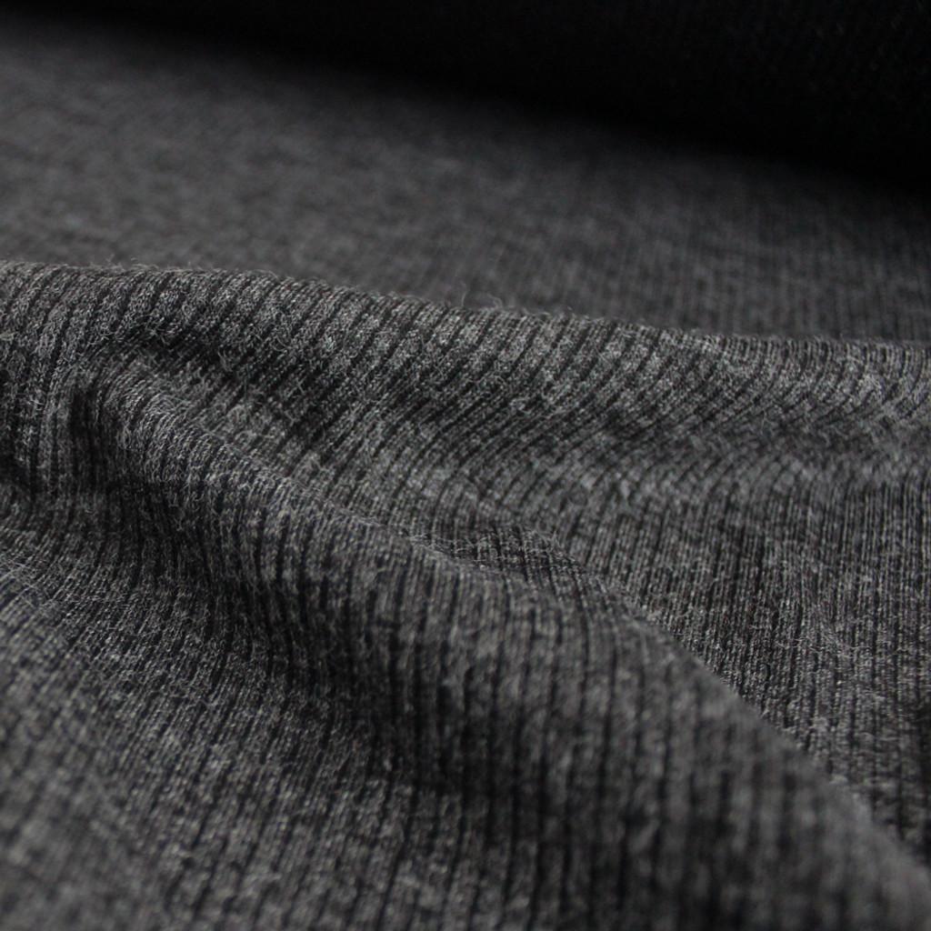 Melange Rib Sweater Knit - Charcoal - 1/2 meter