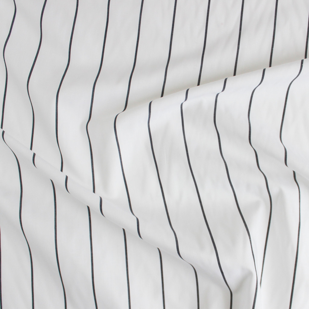 Striped Japanese Cotton Shirting - White/Charcoal | Blackbird Fabrics