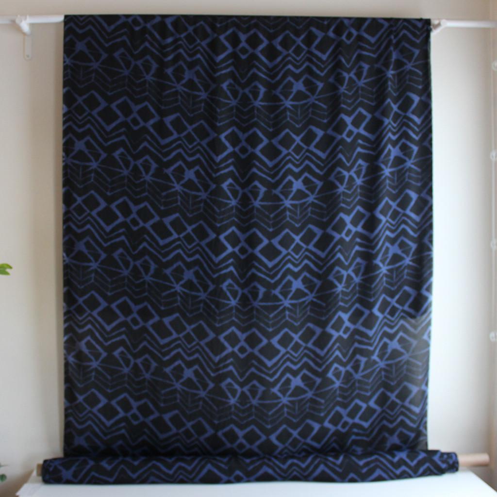 Painted Viscose & Silk Crepe - Black/Blue - 1/2 meter