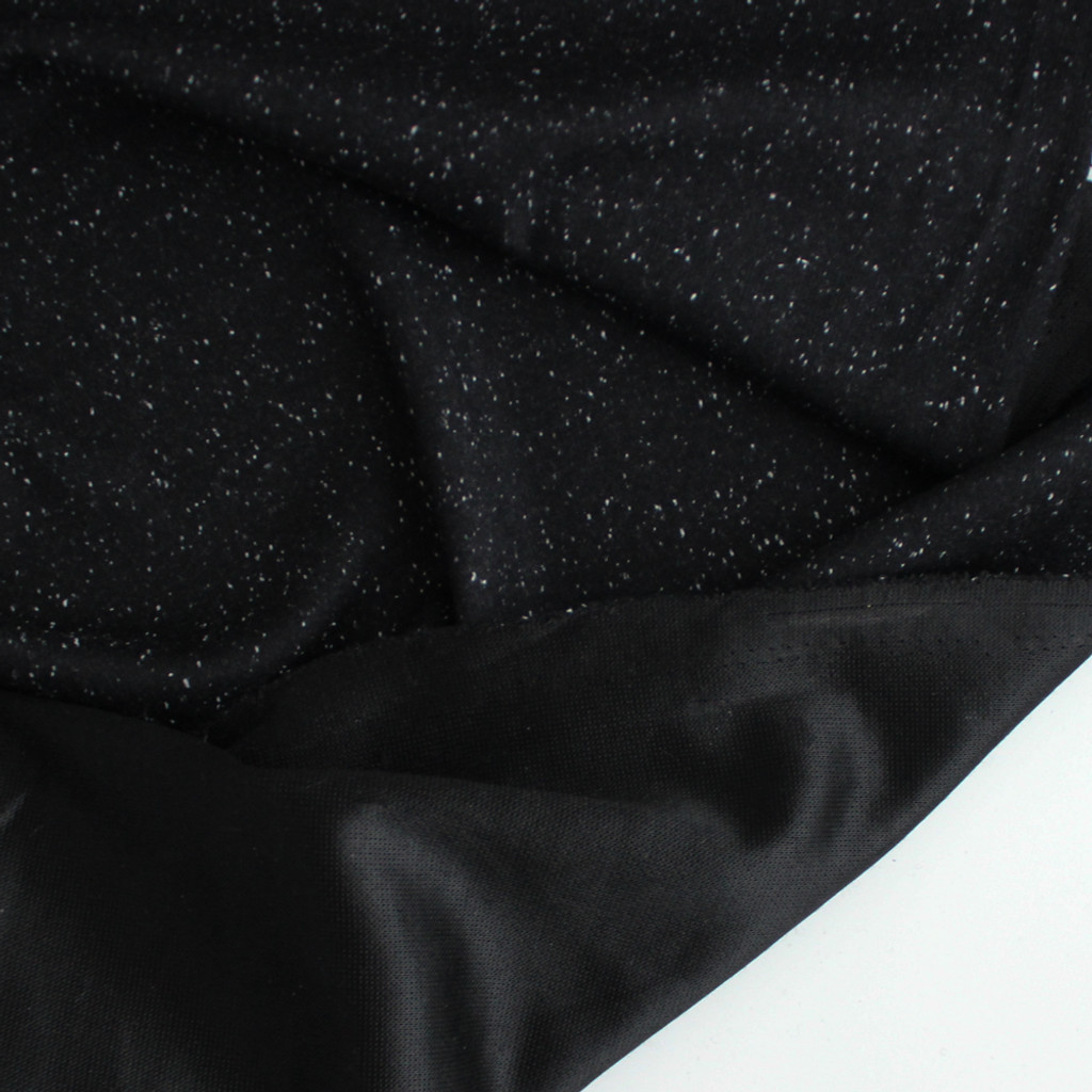 Moon Dust Double Knit - Black Speckle | Blackbird Fabrics