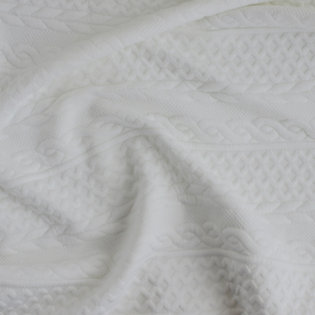 Cable Quilted Knit - Snow | Blackbird Fabrics