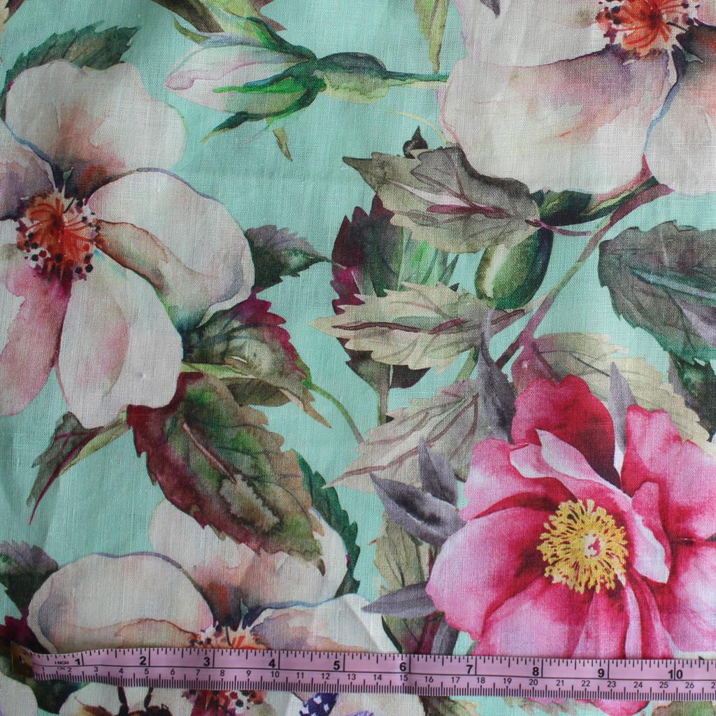 Floral Digital Print Linen Seafoam Blush Rose 1 2