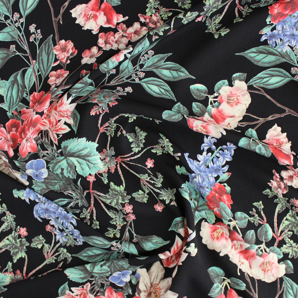 Floral Polyester Crepe - Black/Coral | Blackbird Fabrics