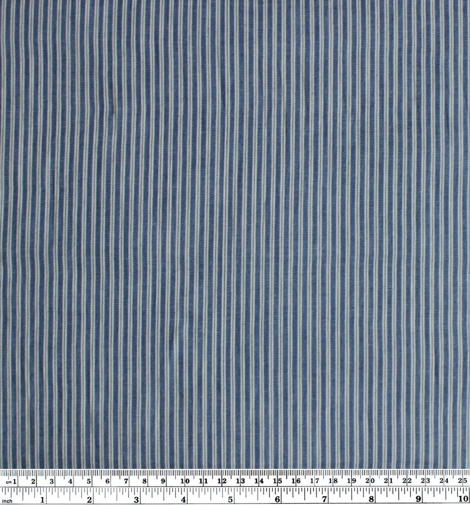 Ticking Stripe Cotton Denim Shirting - Medium Wash   Blackbird Fabrics