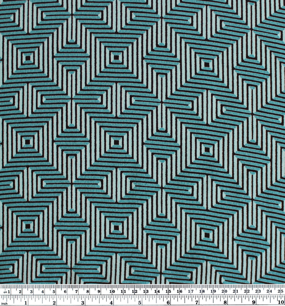 Diamonds Rayon Crepe - Turquoise/Black | Blackbird Fabrics