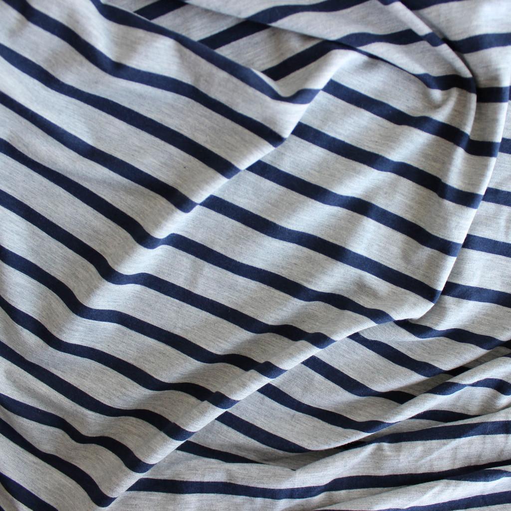 Bamboo & Cotton Striped Jersey - Heather Grey/Navy   Blackbird Fabrics