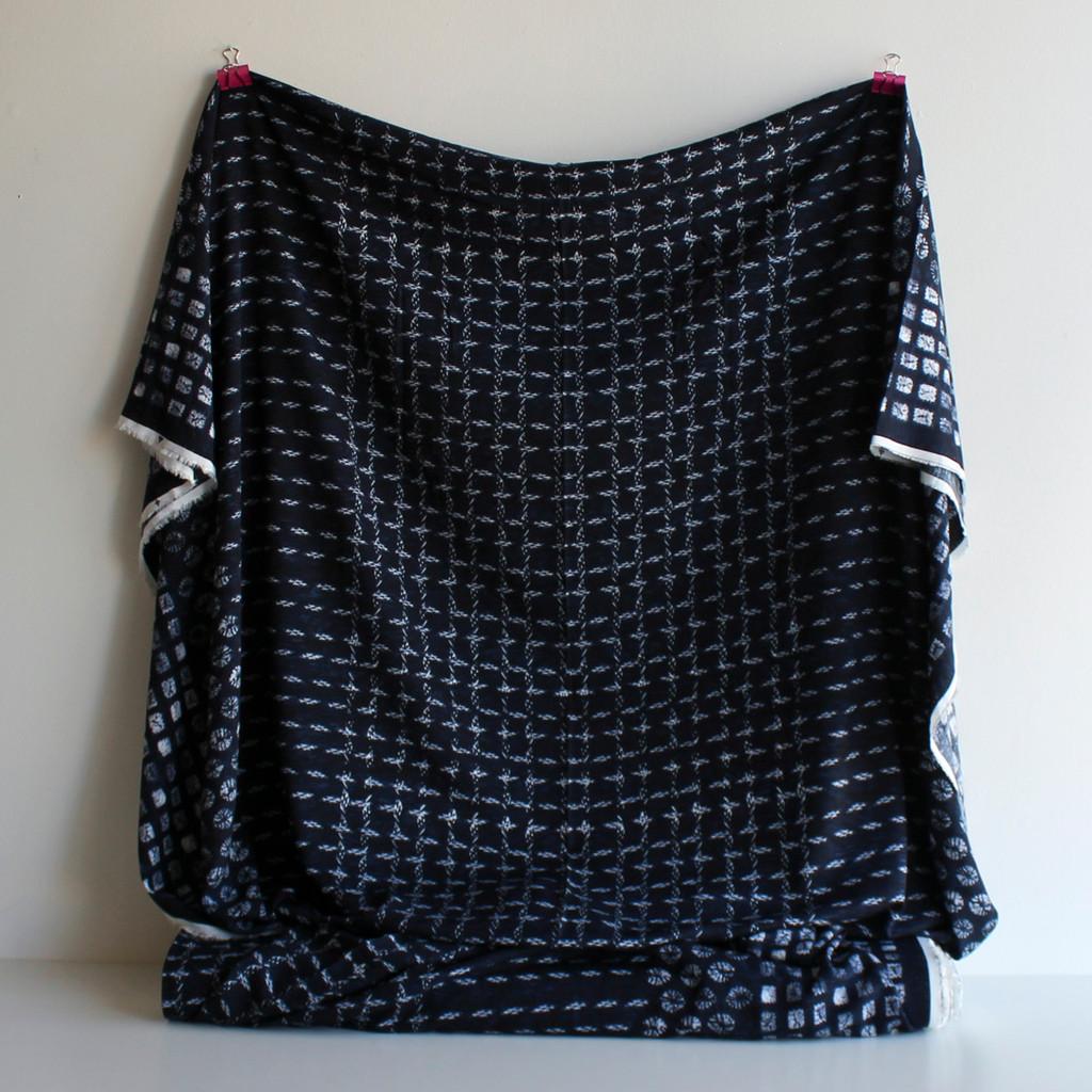 Shibori Border Print Viscose Poplin - Navy | Blackbird Fabrics