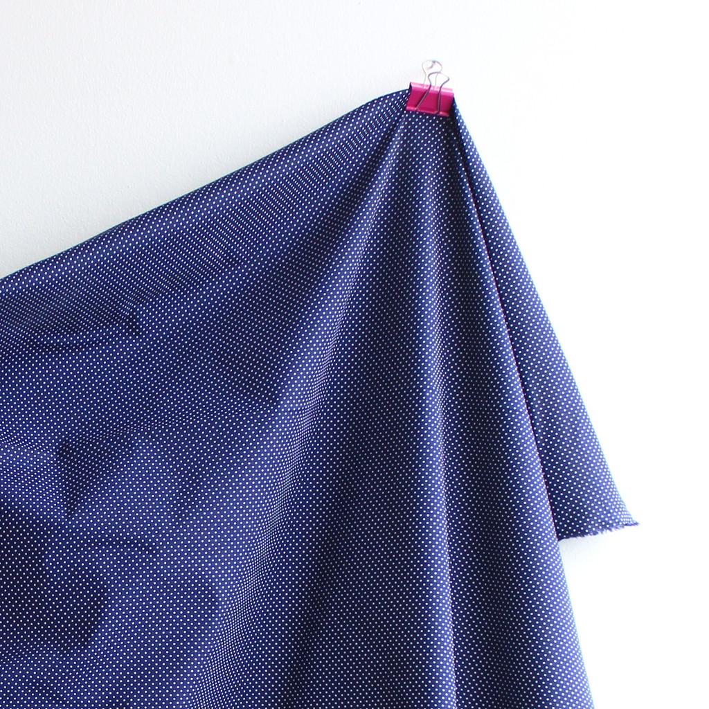 Polka Dot Stretch Cotton Shirting - Navy/White - 1/2 meter