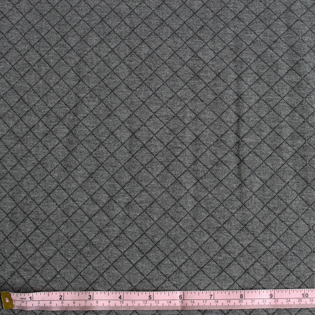 Diamond Quilted Knit - Heather Grey - 1/2 meter